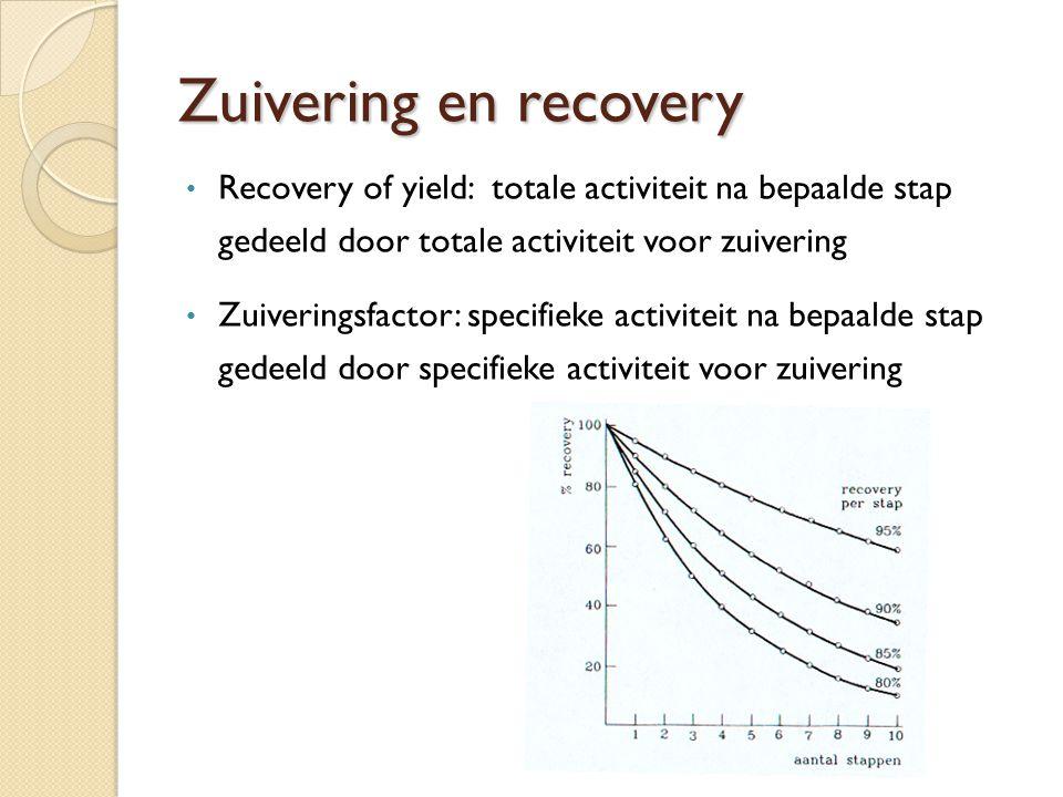 Zuivering en recovery Recovery of yield: totale activiteit na bepaalde stap gedeeld door totale activiteit voor zuivering.
