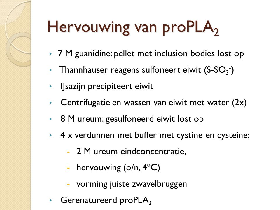Hervouwing van proPLA2 7 M guanidine: pellet met inclusion bodies lost op. Thannhauser reagens sulfoneert eiwit (S-SO3-)
