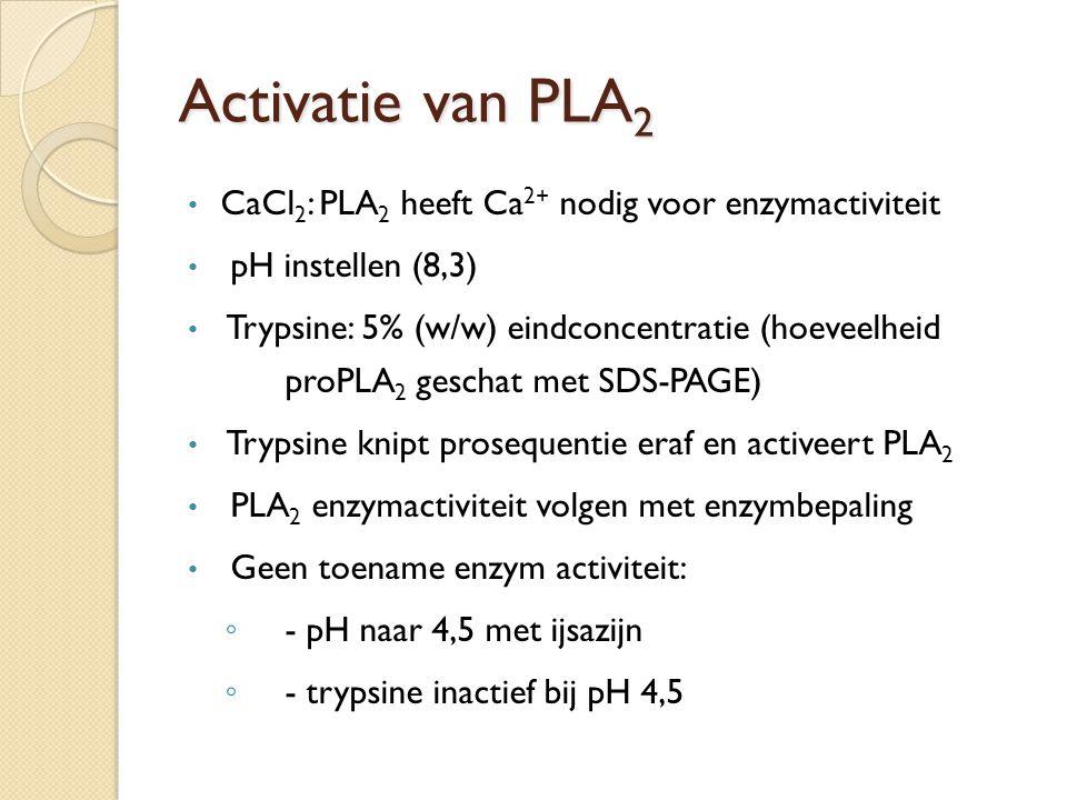 Activatie van PLA2 CaCl2: PLA2 heeft Ca2+ nodig voor enzymactiviteit