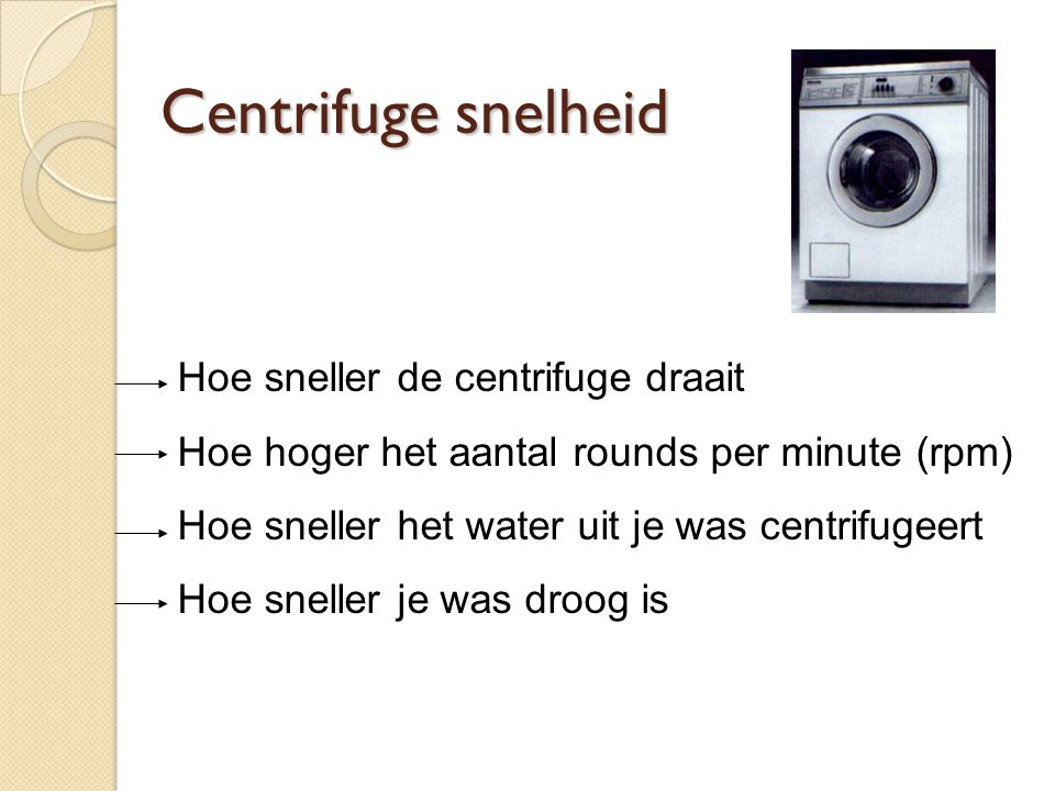 Centrifuge snelheid Hoe sneller de centrifuge draait