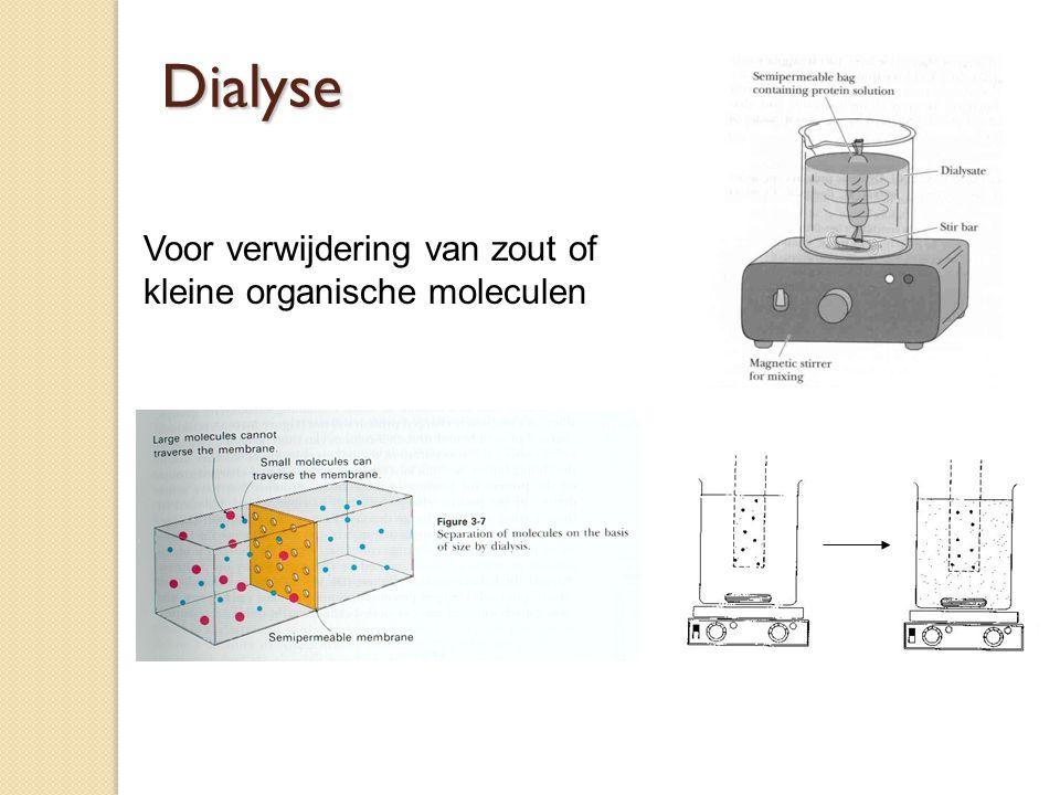 Dialyse Voor verwijdering van zout of kleine organische moleculen