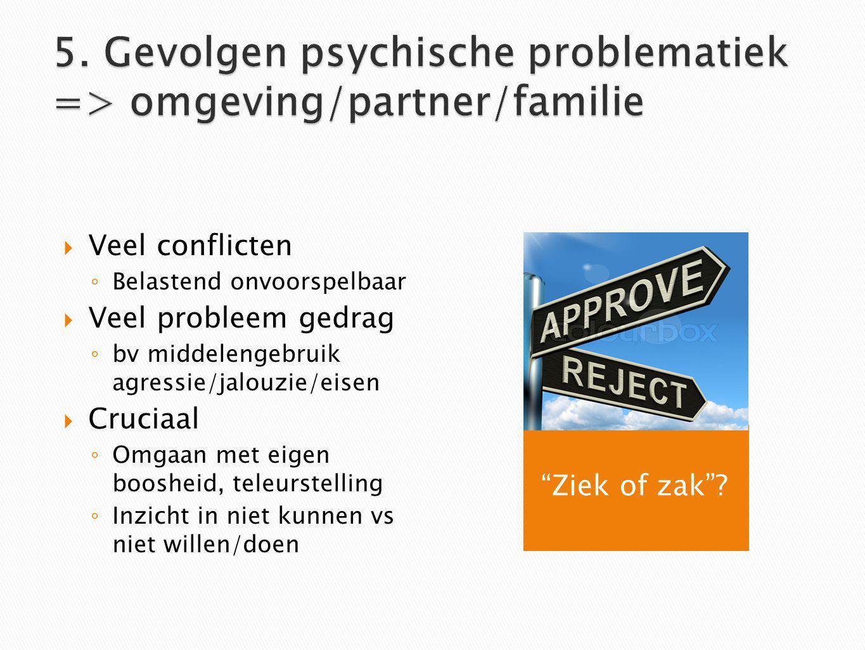 5. Gevolgen psychische problematiek => omgeving/partner/familie