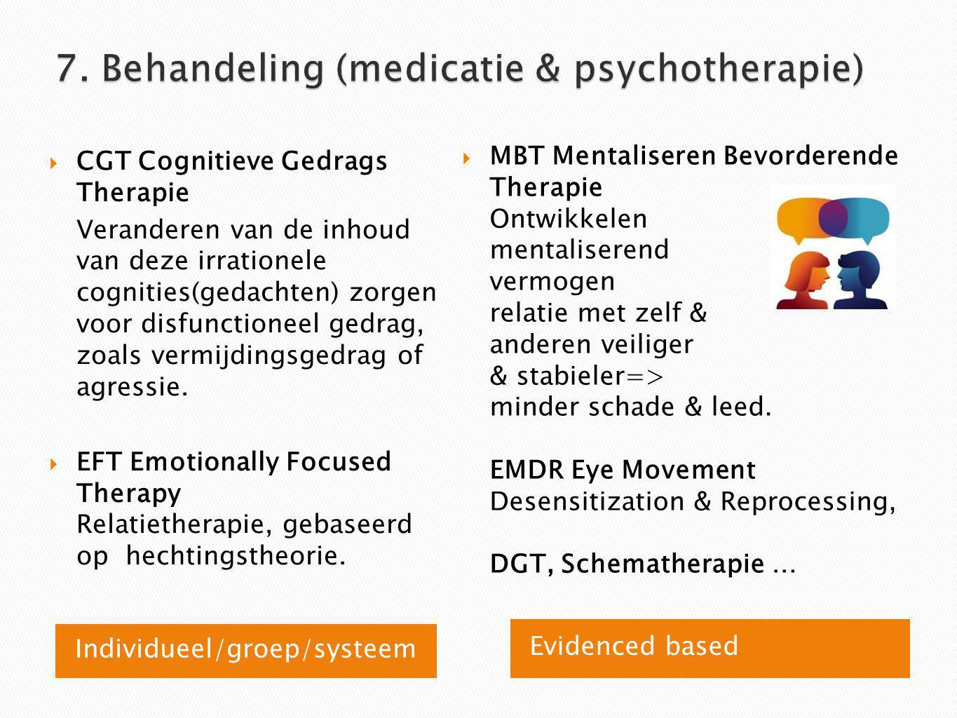 7. Behandeling (medicatie & psychotherapie)