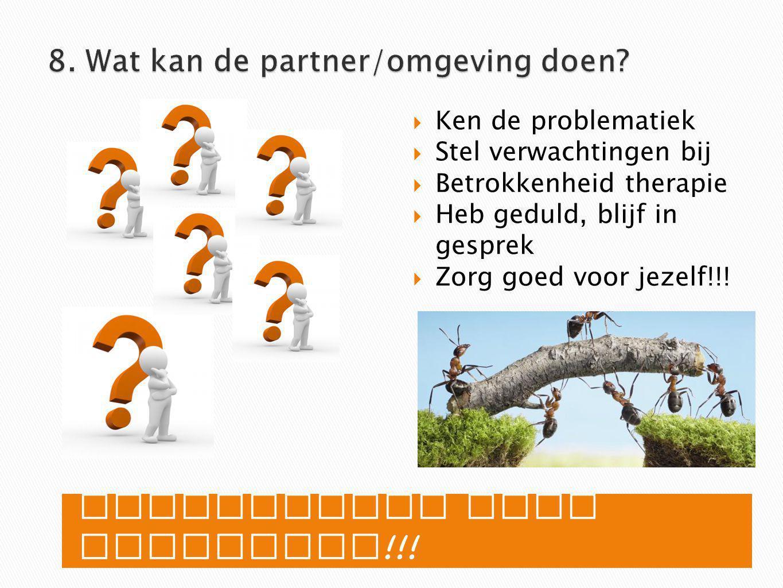 8. Wat kan de partner/omgeving doen