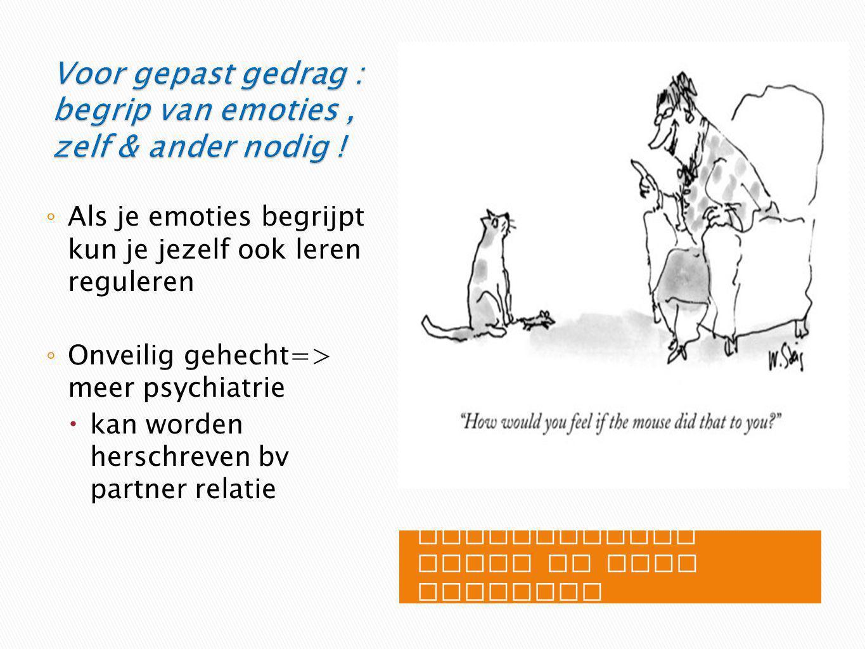 Voor gepast gedrag : begrip van emoties , zelf & ander nodig !