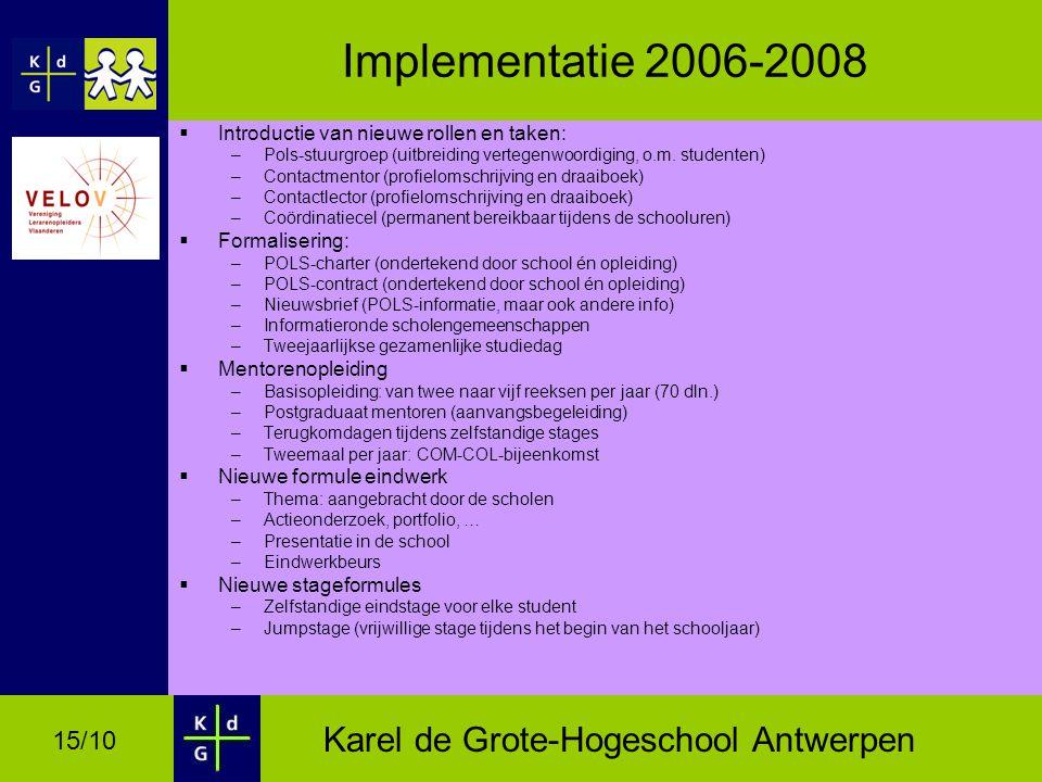 Implementatie 2006-2008 Introductie van nieuwe rollen en taken: