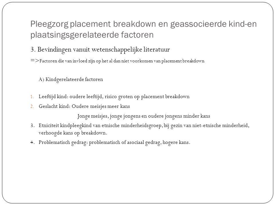 Pleegzorg placement breakdown en geassocieerde kind-en plaatsingsgerelateerde factoren