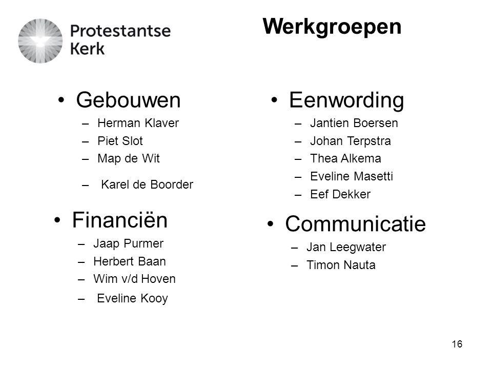 Werkgroepen Gebouwen Eenwording Financiën Communicatie Herman Klaver