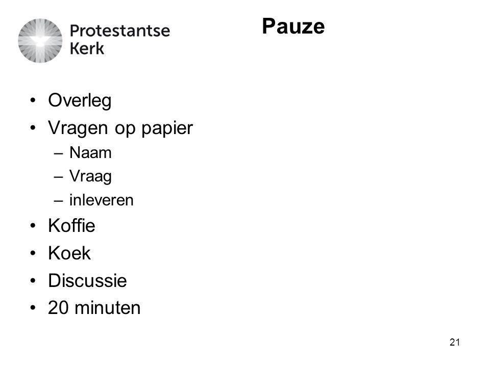 Pauze Overleg Vragen op papier Koffie Koek Discussie 20 minuten Naam