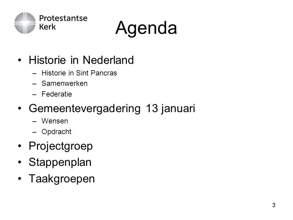 Agenda Historie in Nederland Gemeentevergadering 13 januari