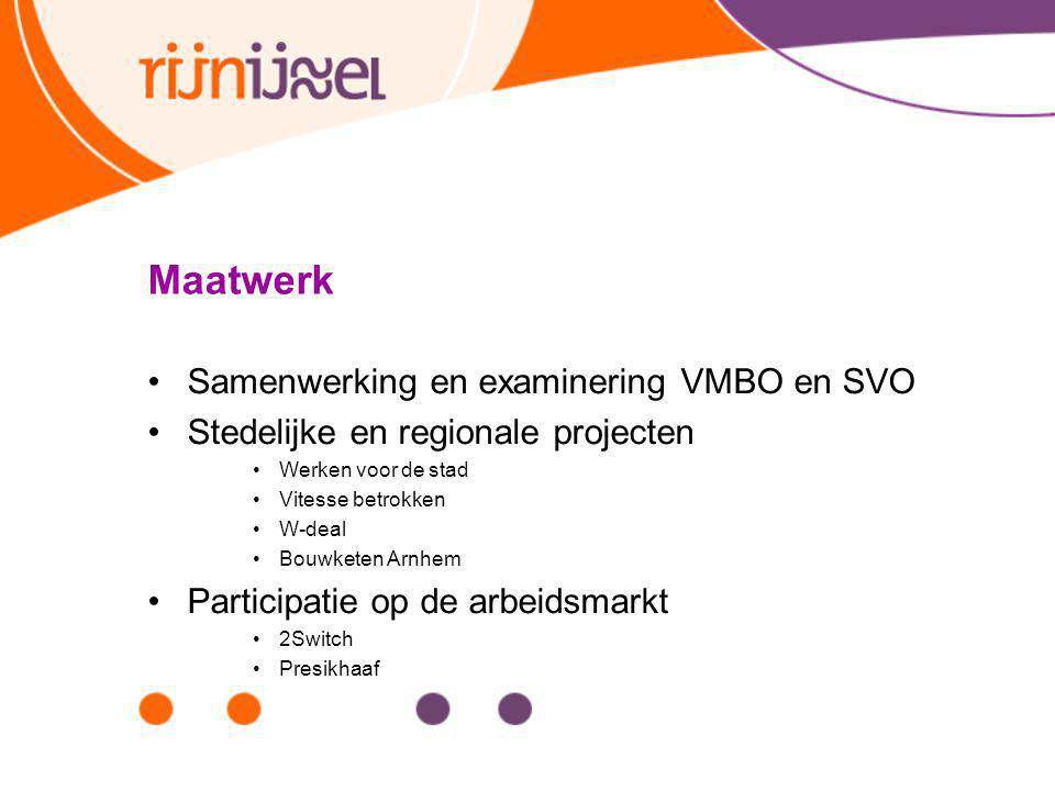 Maatwerk Samenwerking en examinering VMBO en SVO