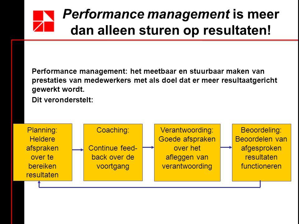 Performance management is meer dan alleen sturen op resultaten!