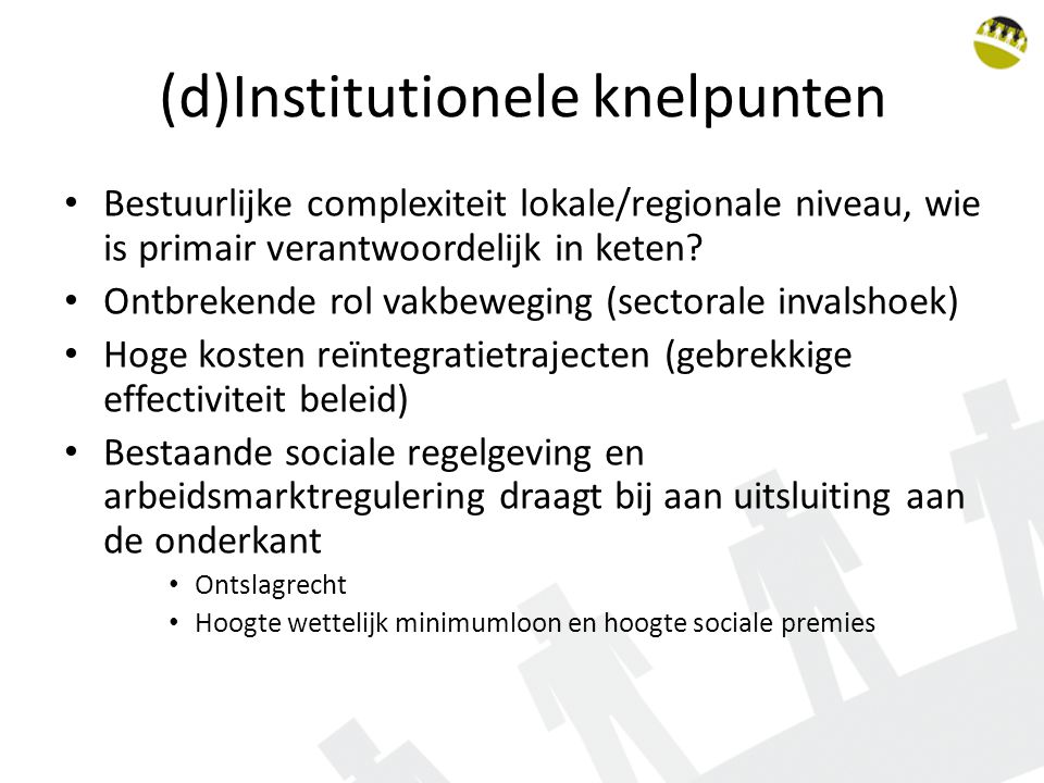 (d)Institutionele knelpunten