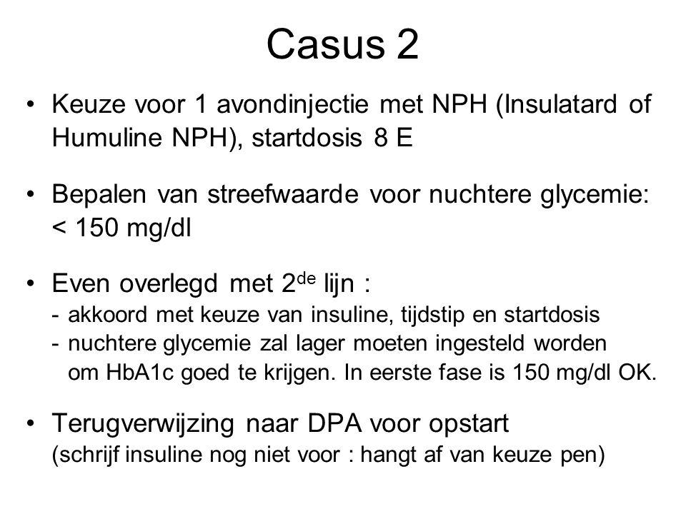 Casus 2 Keuze voor 1 avondinjectie met NPH (Insulatard of Humuline NPH), startdosis 8 E.
