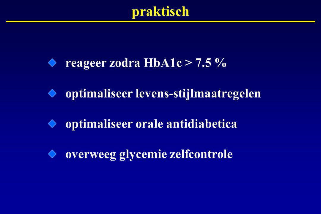 praktisch reageer zodra HbA1c > 7.5 %