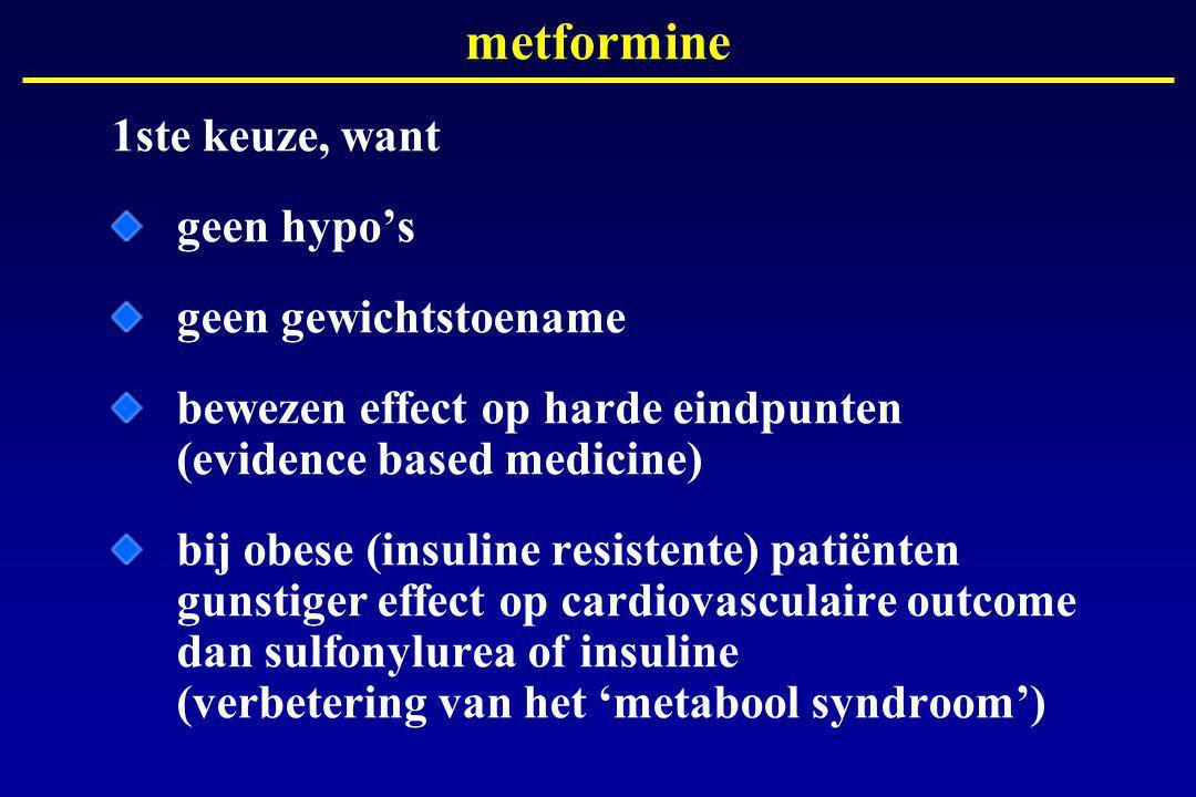 metformine 1ste keuze, want geen hypo's geen gewichtstoename