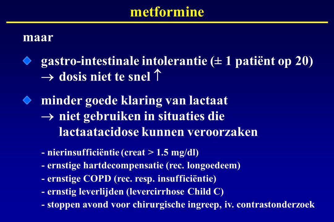 metformine maar. gastro-intestinale intolerantie (± 1 patiënt op 20)  dosis niet te snel 