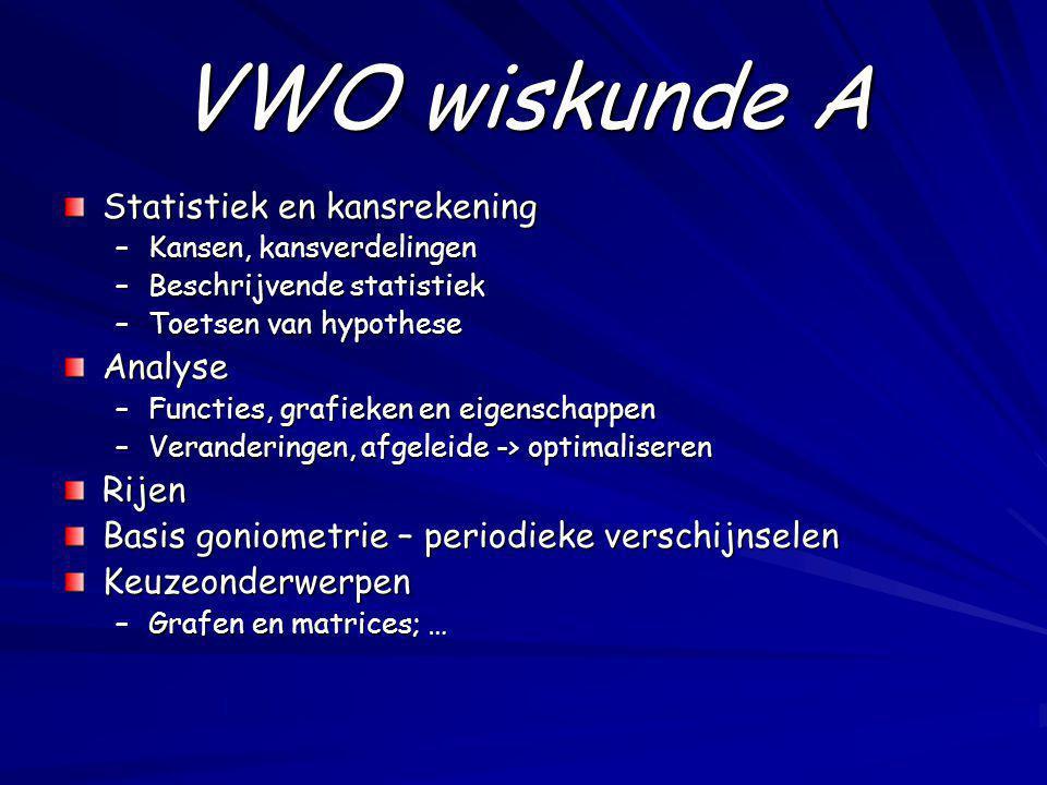 VWO wiskunde A Statistiek en kansrekening Analyse Rijen