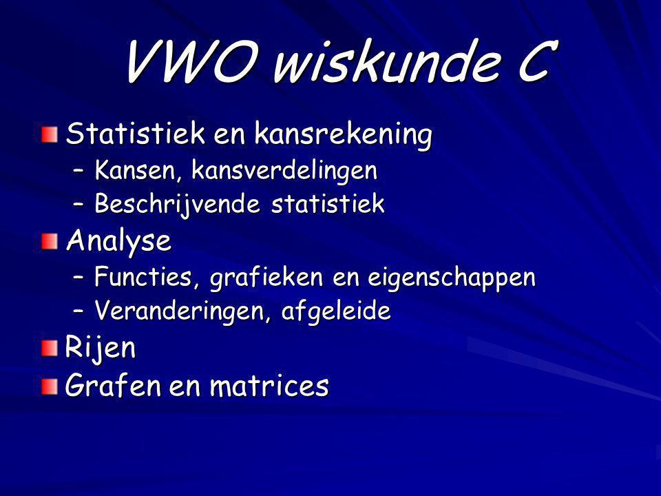 VWO wiskunde C Statistiek en kansrekening Analyse Rijen