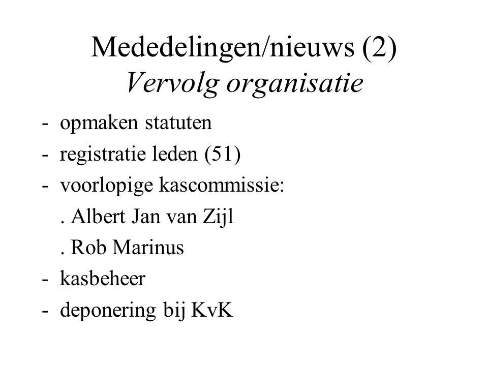 Mededelingen/nieuws (2) Vervolg organisatie