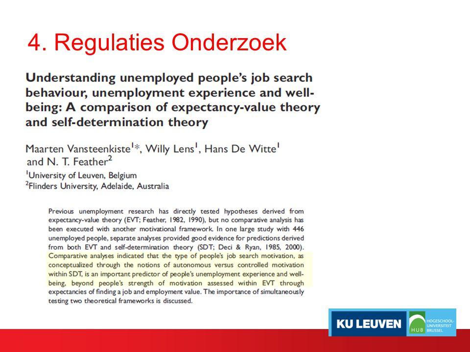 4. Regulaties Onderzoek
