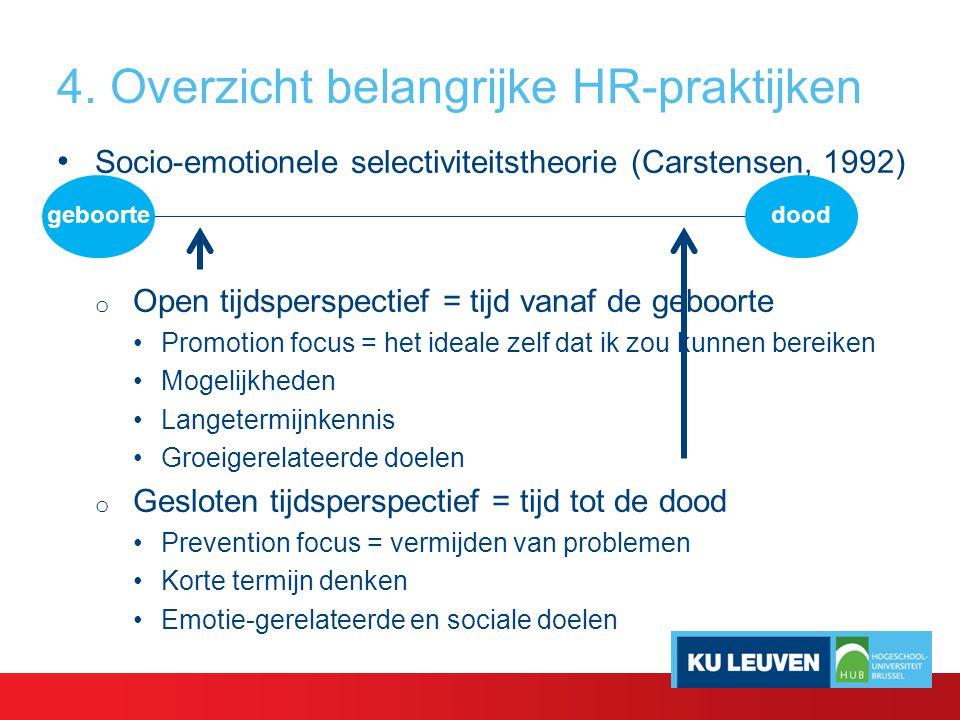 4. Overzicht belangrijke HR-praktijken