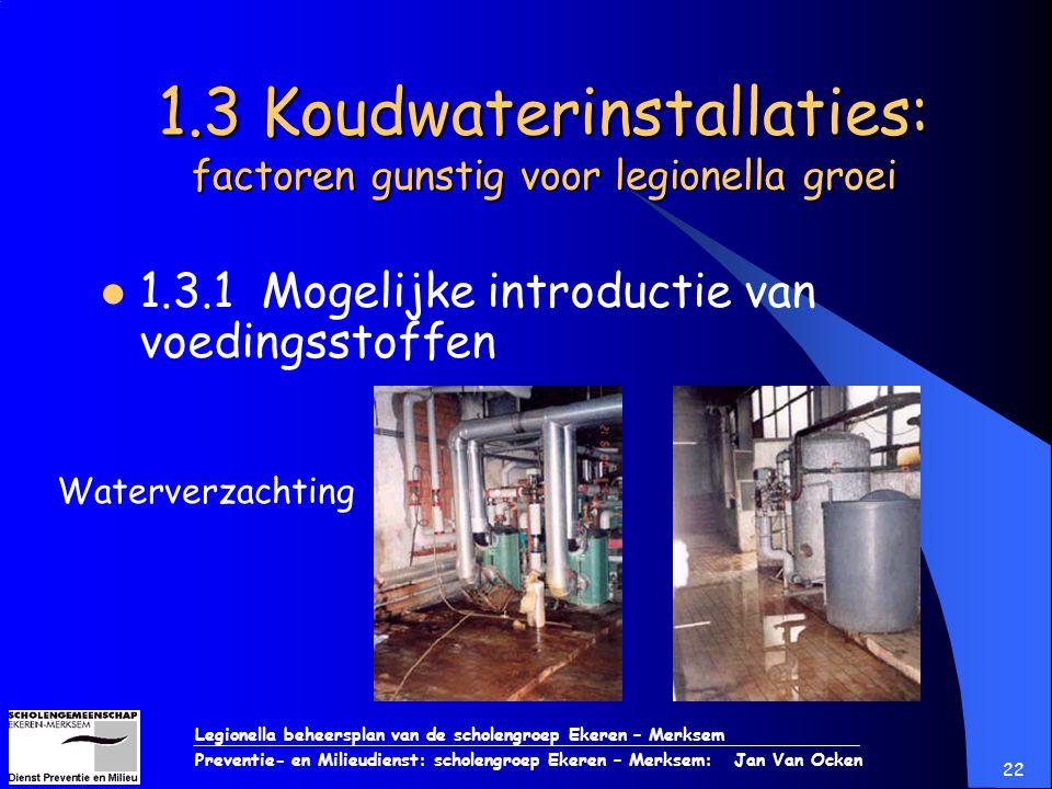 1.3 Koudwaterinstallaties: factoren gunstig voor legionella groei