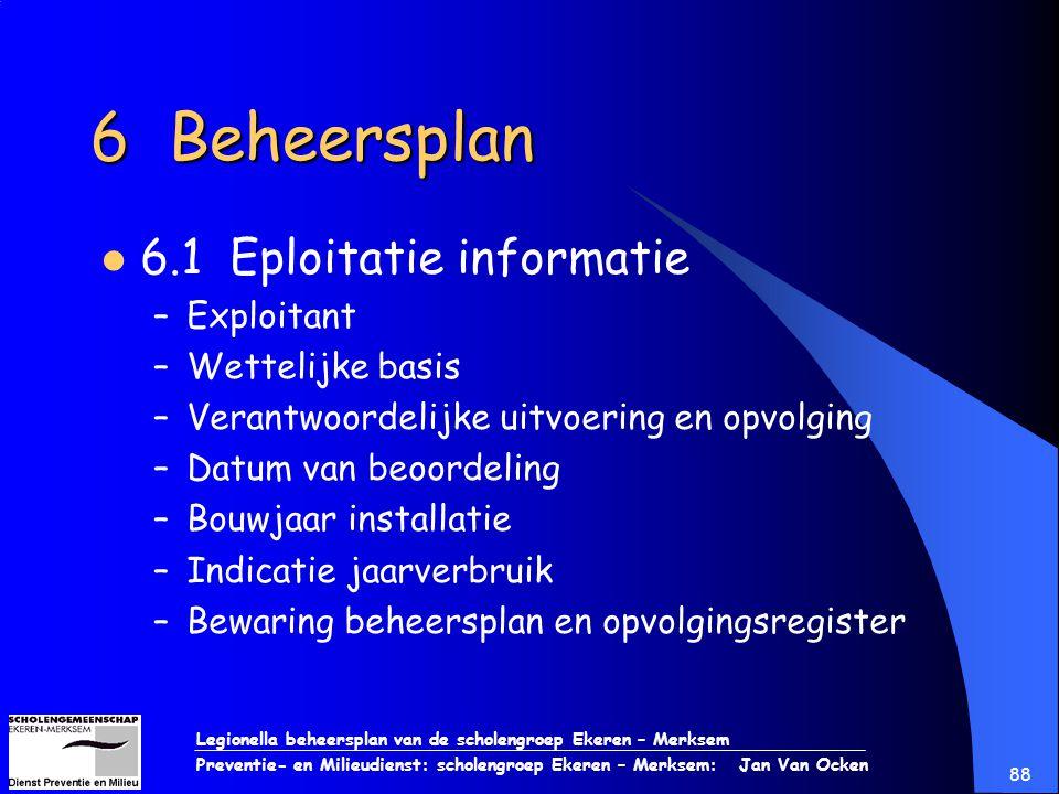 6 Beheersplan 6.1 Eploitatie informatie Exploitant Wettelijke basis
