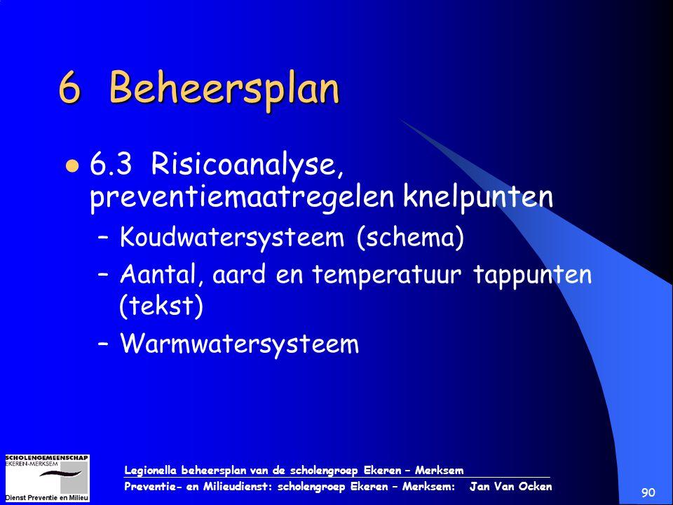 6 Beheersplan 6.3 Risicoanalyse, preventiemaatregelen knelpunten