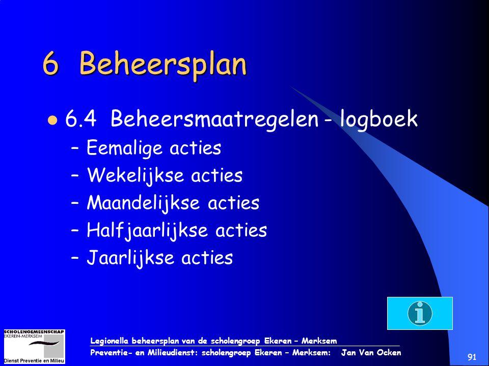 6 Beheersplan 6.4 Beheersmaatregelen - logboek Eemalige acties