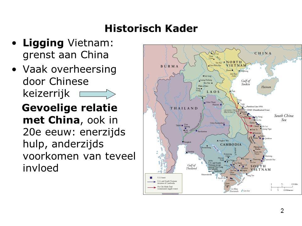 Historisch Kader Ligging Vietnam: grenst aan China. Vaak overheersing door Chinese keizerrijk.