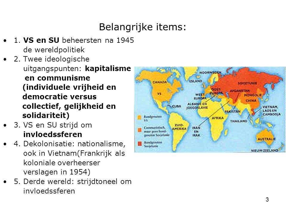 Belangrijke items: 1. VS en SU beheersten na 1945 de wereldpolitiek
