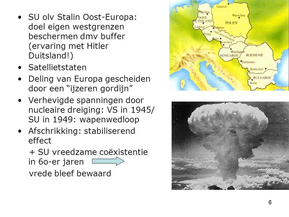 SU olv Stalin Oost-Europa: doel eigen westgrenzen beschermen dmv buffer (ervaring met Hitler Duitsland!)