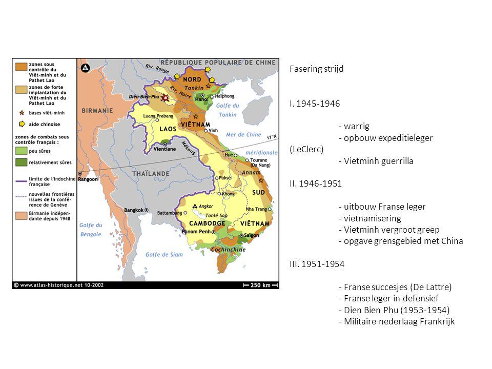 Fasering strijd I. 1945-1946. - warrig. - opbouw expeditieleger (LeClerc) - Vietminh guerrilla. II. 1946-1951.