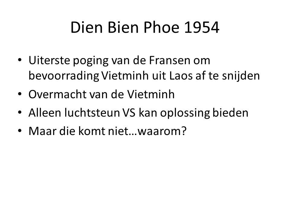 Dien Bien Phoe 1954 Uiterste poging van de Fransen om bevoorrading Vietminh uit Laos af te snijden.