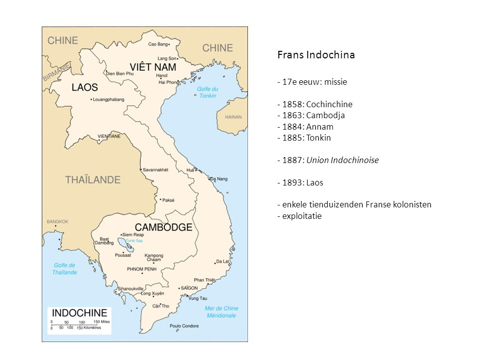 Frans Indochina 17e eeuw: missie 1858: Cochinchine 1863: Cambodja