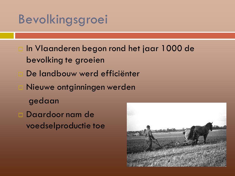 Bevolkingsgroei In Vlaanderen begon rond het jaar 1000 de bevolking te groeien. De landbouw werd efficiënter.