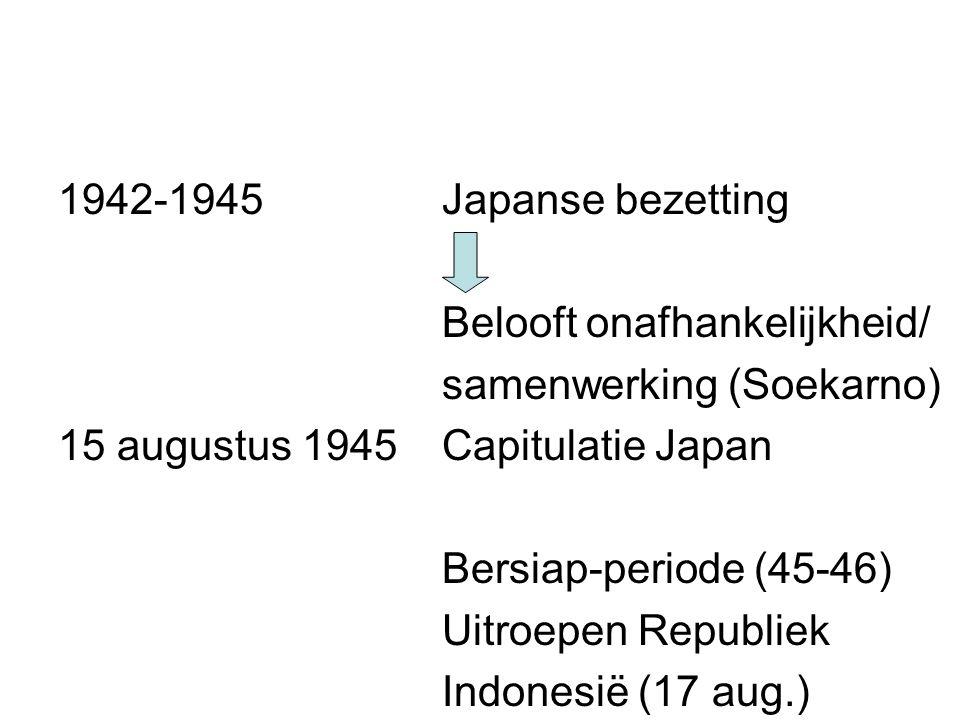 1942-1945 Japanse bezetting Belooft onafhankelijkheid/ samenwerking (Soekarno) 15 augustus 1945 Capitulatie Japan.