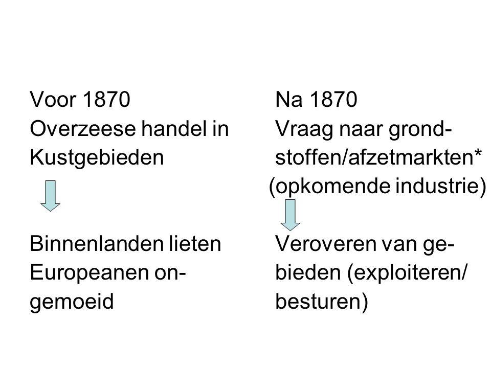 Voor 1870 Na 1870 Overzeese handel in Vraag naar grond- Kustgebieden stoffen/afzetmarkten* (opkomende industrie)