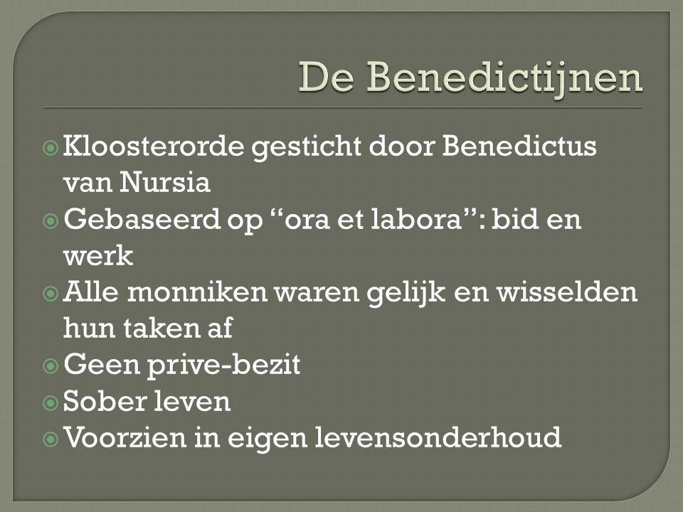 De Benedictijnen Kloosterorde gesticht door Benedictus van Nursia