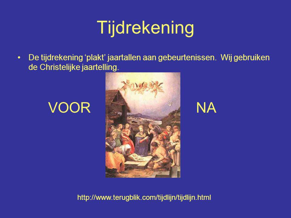 Tijdrekening De tijdrekening 'plakt' jaartallen aan gebeurtenissen. Wij gebruiken de Christelijke jaartelling.