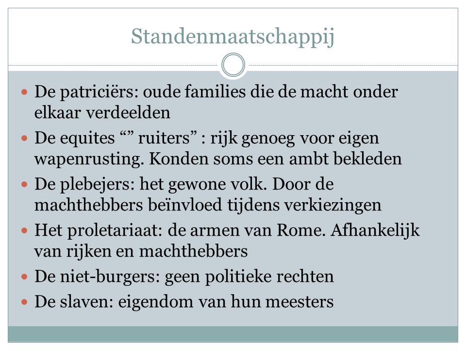 Standenmaatschappij De patriciërs: oude families die de macht onder elkaar verdeelden.