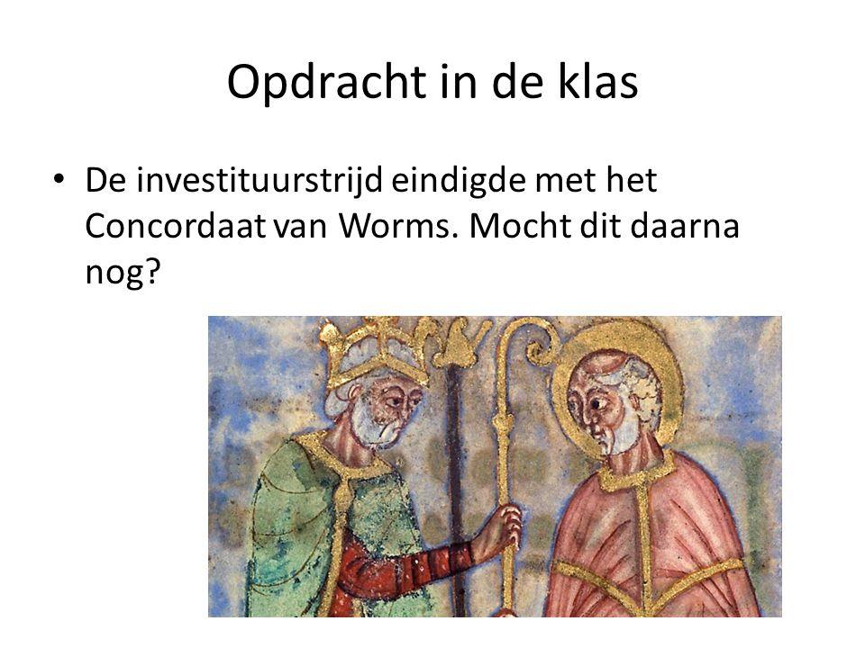 Opdracht in de klas De investituurstrijd eindigde met het Concordaat van Worms.