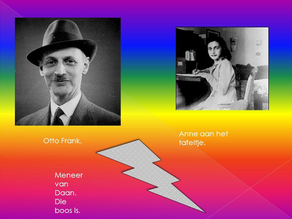 Anne aan het tafeltje. Otto Frank. Meneer van Daan. Die boos is.