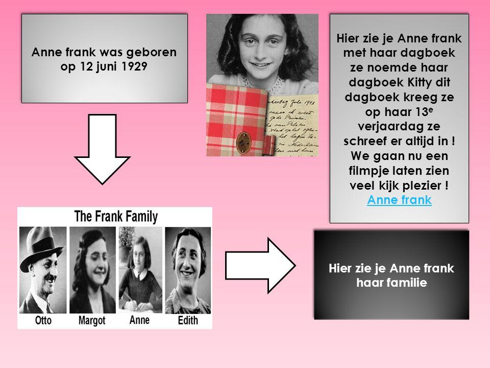 Anne frank was geboren op 12 juni 1929