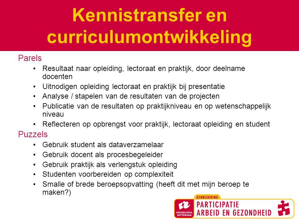 Kennistransfer en curriculumontwikkeling