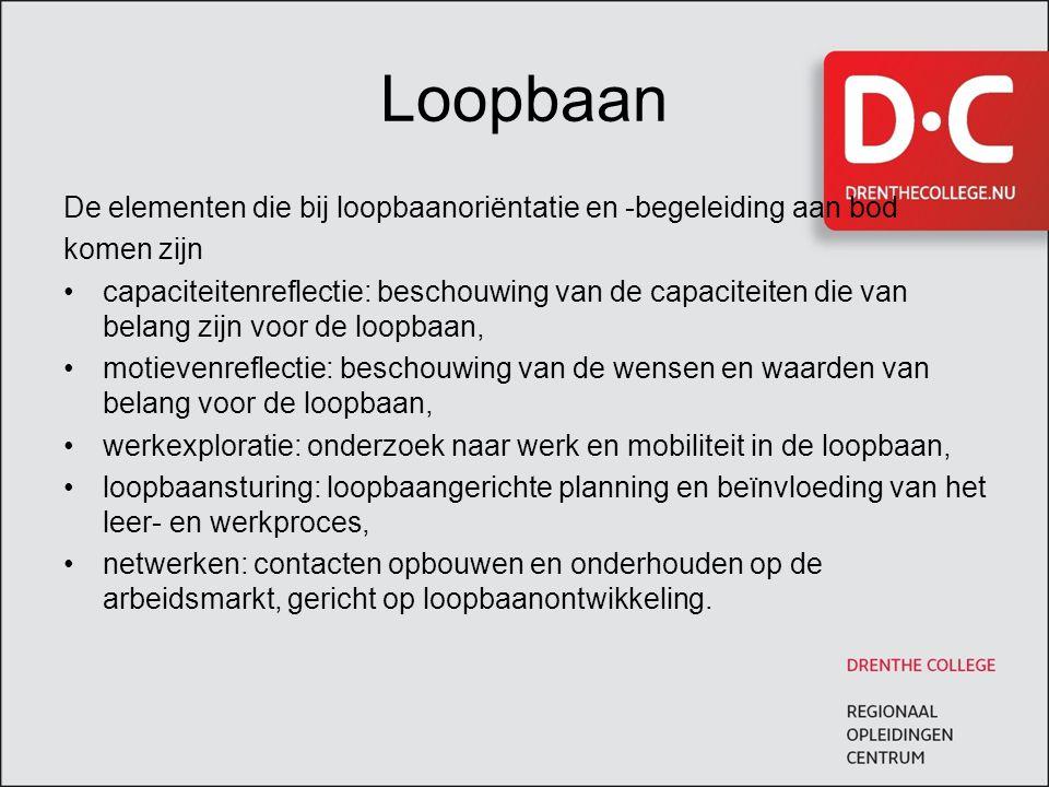 Loopbaan De elementen die bij loopbaanoriëntatie en -begeleiding aan bod. komen zijn.