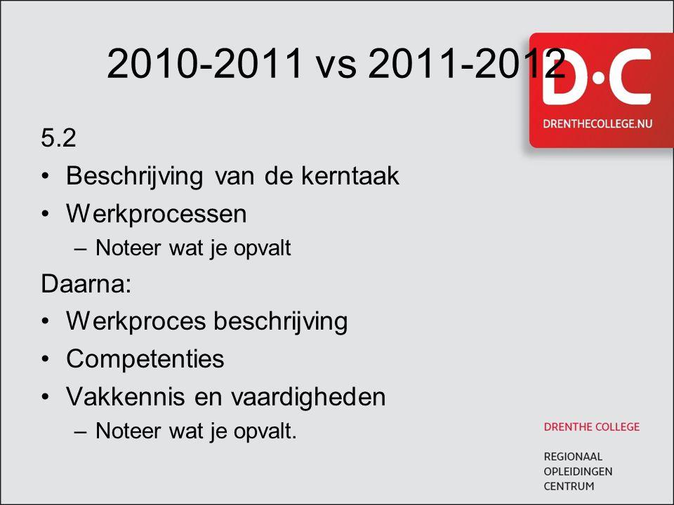 2010-2011 vs 2011-2012 5.2 Beschrijving van de kerntaak Werkprocessen