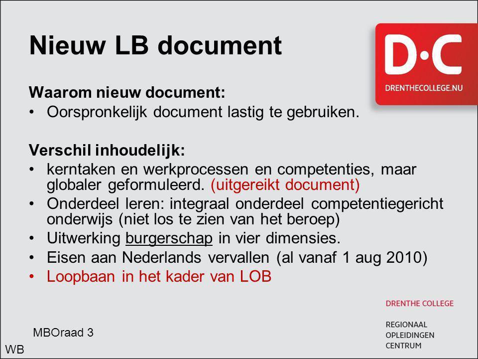 Nieuw LB document Waarom nieuw document: