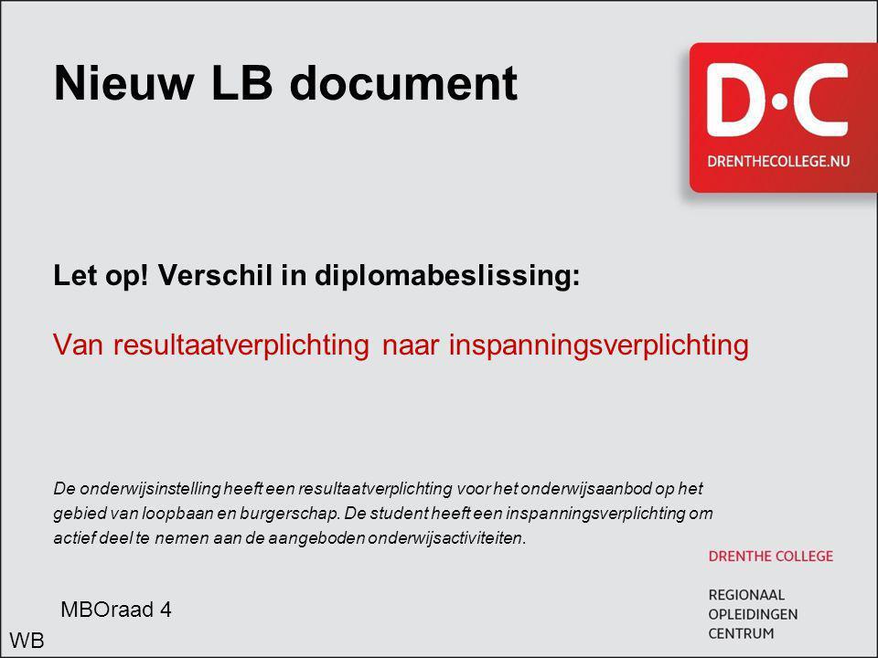 Nieuw LB document Let op! Verschil in diplomabeslissing: